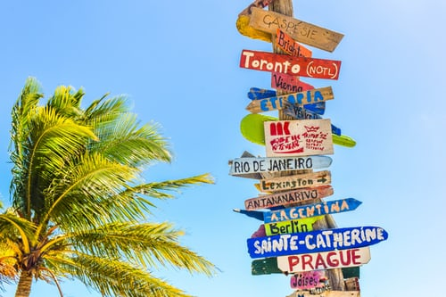 Signs pointing to different destinations