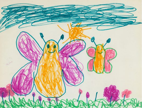 a child's creating drawing if two butterflies in a field